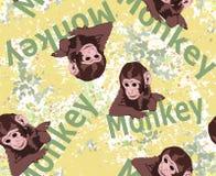 Varianti minuscole sveglie di stampaggio di tessuti e della scimmia, modelli di stampa della carta del regalo, immagine animale e illustrazione di stock