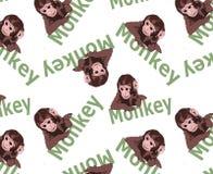 Varianti minuscole sveglie di stampaggio di tessuti e della scimmia, modelli di stampa della carta del regalo, immagine animale e royalty illustrazione gratis