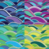 4 variants of abstract seamless background with waves. Seamless vector patterns with waves: blue, pink, yellow, green. 4 variants of abstract background. eps 10 Stock Image