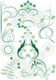 Variants brush patterns of leaves clovers Stock Photography