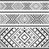 Variants of the ethnic ornament - black&white Royalty Free Stock Image