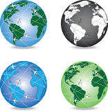 4 variants of globe with aircrafts around it Stock Photos