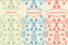 Variants of greeting cards. With seamless floral patterns of leaves and flowers in delicate outlines and labels or cartouches containing the text for Mothers Stock Illustration
