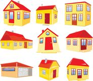 Variants of houses. Illustration isolated on white background Royalty Free Stock Images