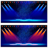 Variants of illumination of a concert scene. Vector illustration Stock Images