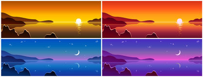 Variants of landscapes, illustration,  Royalty Free Stock Images