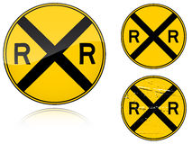 Variants a Level crossing warning - road sign Royalty Free Stock Photo
