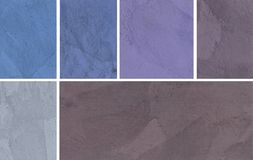 Variants of the texture of the plaster, decorative wall coverings Royalty Free Stock Images