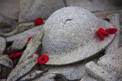 Amapolas alrededor del monumento de guerra Foto de archivo libre de regalías