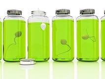 Varias baterías con la esperma en el fondo blanco Fotografía de archivo