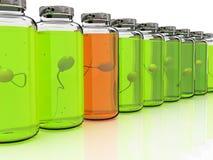 Varias baterías con la esperma en el fondo blanco Imagenes de archivo