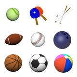 Varias bolas de los deportes imagen de archivo libre de regalías