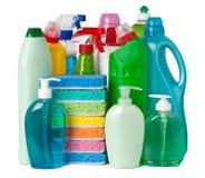 Varias botellas con las fuentes de limpieza Imagen de archivo libre de regalías