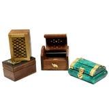 Varias cajas en un fondo blanco Foto de archivo libre de regalías