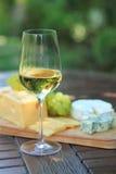 Varias clases de queso, de uvas y de vino blanco Fotografía de archivo