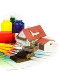 Varias herramientas de la pintura Fotos de archivo