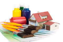 Varias herramientas de la pintura Foto de archivo