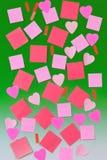 Varias hojas de papel en verde Imagen de archivo