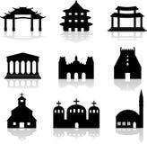 Varias ilustraciones del templo y de la iglesia stock de ilustración