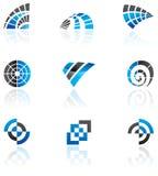 Varias insignias azules ilustración del vector