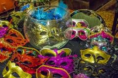 Varias máscaras decorativas de la mascarada Fotos de archivo