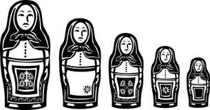 Varias muñecas jerarquizadas rusas Imagen de archivo libre de regalías