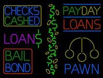Varias muestras de neón del efectivo stock de ilustración
