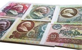 Varias notas del soviet con Lenin Fotos de archivo