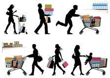 Varias personas, haciendo compras - siluetas del vector Imagen de archivo libre de regalías
