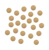 Varias tabletas alimenticias del suplemento de la levadura de los brewer's en blanco Imagen de archivo
