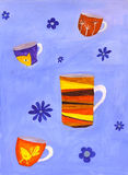Varias tazas y flores Ilustración del Vector