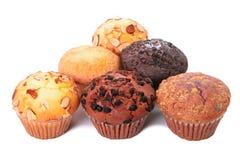 Varias tortas de la taza del mollete aisladas Imagen de archivo libre de regalías