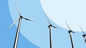 Varias turbinas de viento, bosquejo azul representación 3d Imagenes de archivo