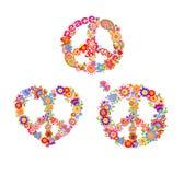Variatie van decoratieve hippiedrukken met de symbolen van de vredesbloem royalty-vrije illustratie