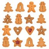 Variatie van Kerstmiskoekjes op wit wordt geïsoleerd dat Stock Foto