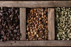 Variatie van koffiebonen stock fotografie