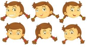 Variaties van de gezichten van een meisje vector illustratie