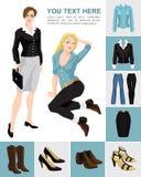 Variatiesmodellen van schoenen en kleren Stock Fotografie