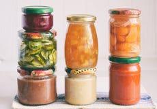 Variation av bevarad mat i exponeringsglaskrus - knipor, driftstopp, marmelad, såser, ketchup Bevara grönsaker och frukter jäst royaltyfri bild