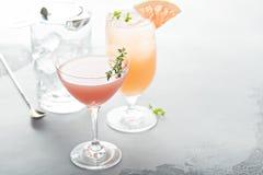 Variation av citrusa coctailar på grå färgyttersida Fotografering för Bildbyråer