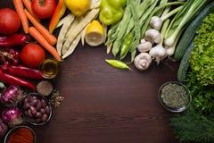 Variation av grönsaker och kryddor med mörk träbakgrund Royaltyfri Foto