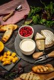 Variation av ingredienser för ny mat för söta bärcrostinismörgåsar med ricottamangotranbäret, lantlig bakgrund, bästa sikt, royaltyfri foto