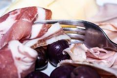 Variation av italiensk salami och ost Royaltyfri Bild