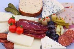 Variation av k?ttprodukter och ost royaltyfria bilder