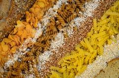 Variation av kornprodukter royaltyfri bild
