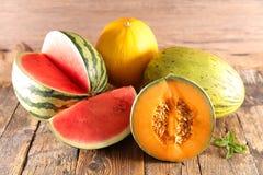 Variation av melon royaltyfri fotografi