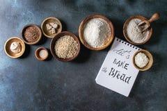 Variation av mjöl och korn arkivfoto