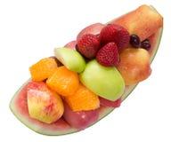 Variation av ny frukt som ordnar till för att äta Arkivfoton