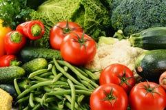 Variation av nya organiska grönsaker Detoxen bantar Arkivfoto
