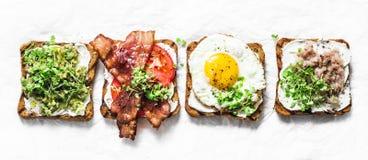 Variation av smörgåsar för frukosten, mellanmål, aptitretare - avokadopuré, stekt ägg, tomater, bacon, ost, rökt makrill arkivfoton